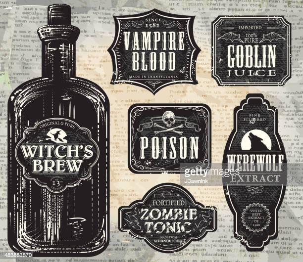 ilustrações de stock, clip art, desenhos animados e ícones de conjunto de documentação'en hallowe impressão preto e branco etiquetas com frasco - caveira