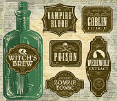 Set of  Hallowe'en printable green and brown labels with bottle