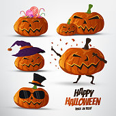 Set of halloween pumpkins vector,cartoon character design,cute and funny style.