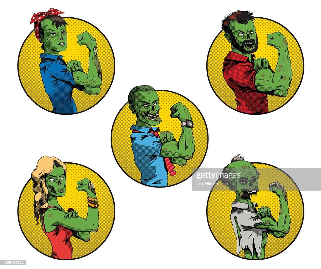 Set of Halloween round yellow frames with zombies