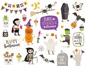 Set of halloween sign, symbol, objects, items and cartoon characters