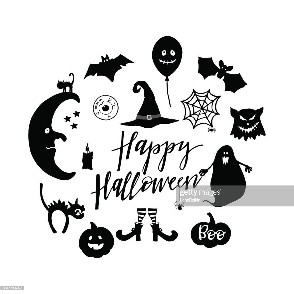Set Of Halloween Symbols Vector Art Getty Images
