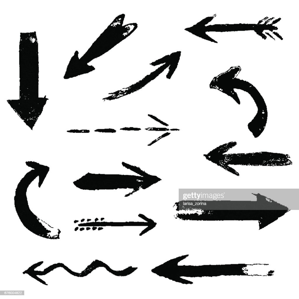 Set of hand drawing comic black ink arrows. Hand painting design elements.