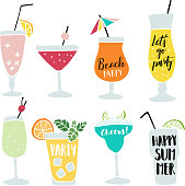 Set of hand drawn alcoholic drinks, cocktails with lettering quotes. Summer holiday and beach party concept. Isolated vector icons