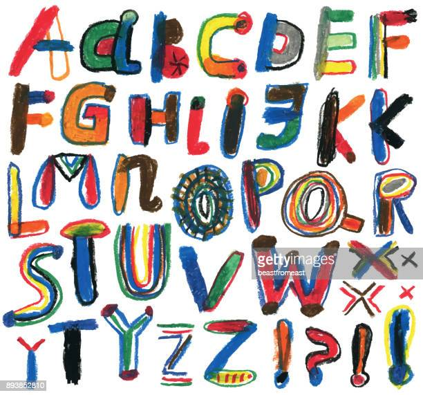 set of hand drawn alphabet letters - crayon stock illustrations