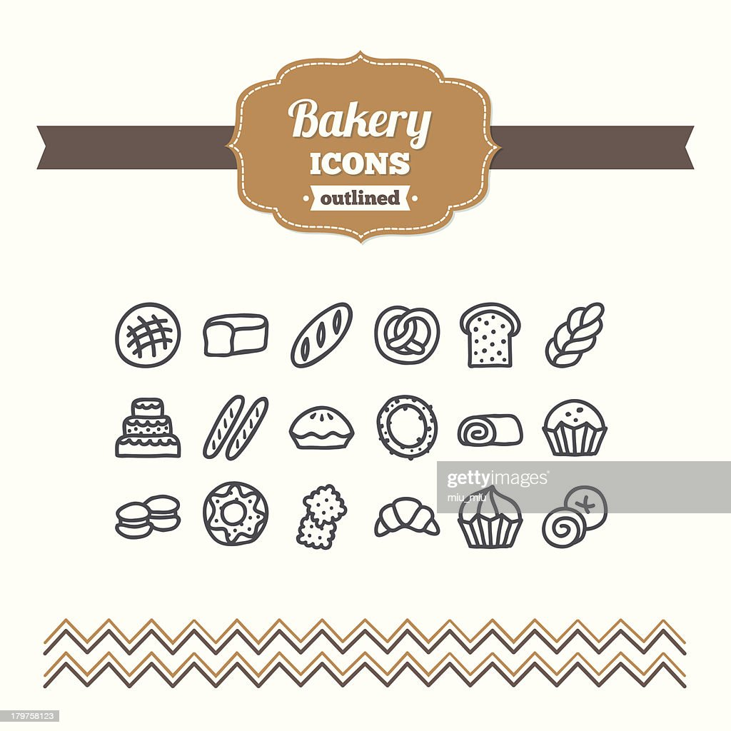 Set of hand drawn bakery icons