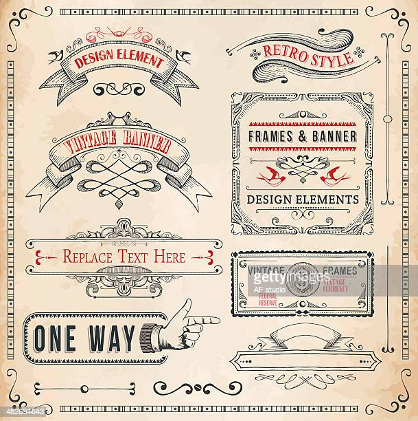set of hand drawn banners and frames - antique stock illustrations