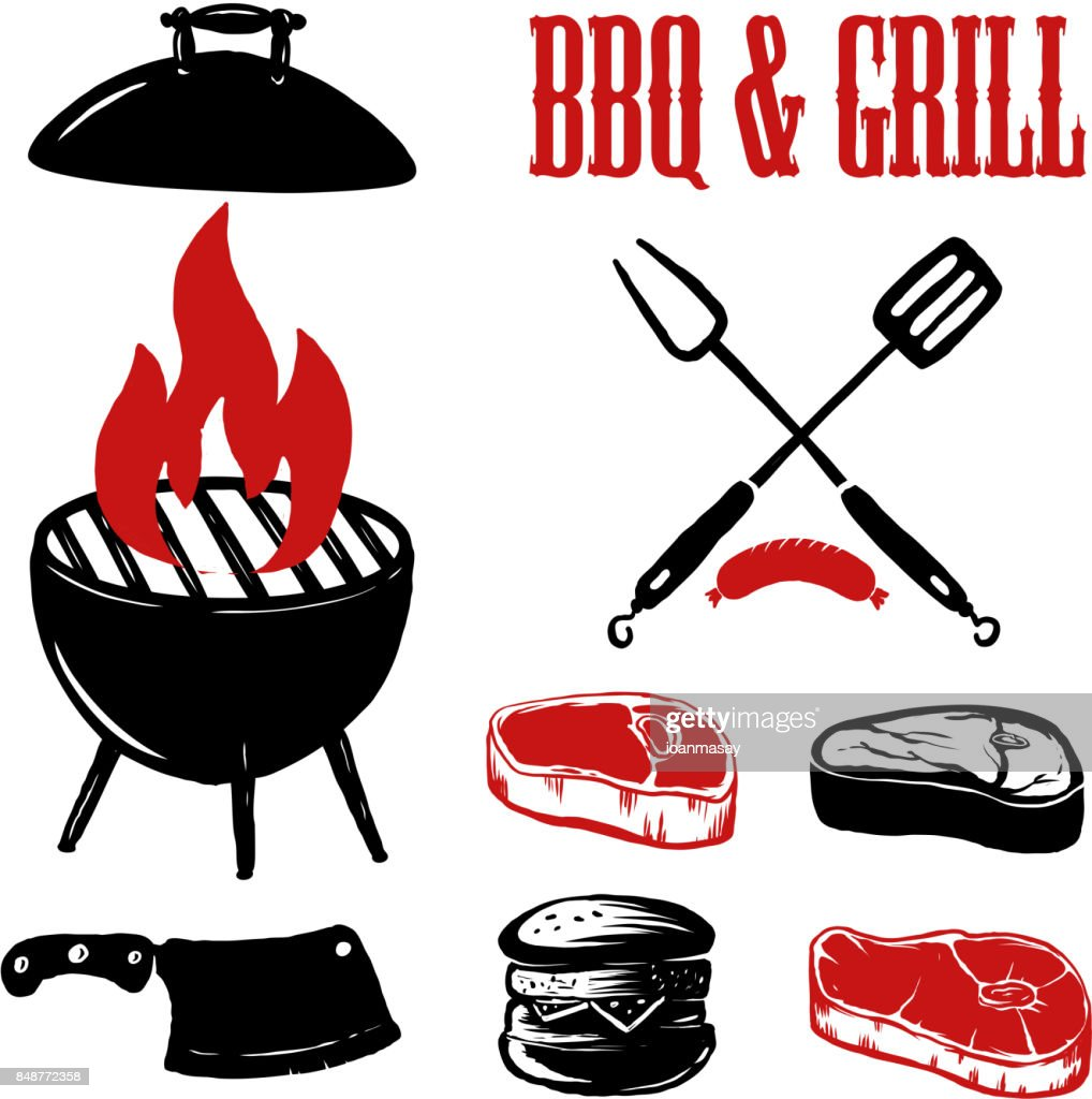 Set of hand drawn BBQ and grill elements.