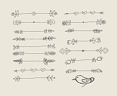 Set of Hand Drawn Black Doodle Design Elements.  Vector Illustration.