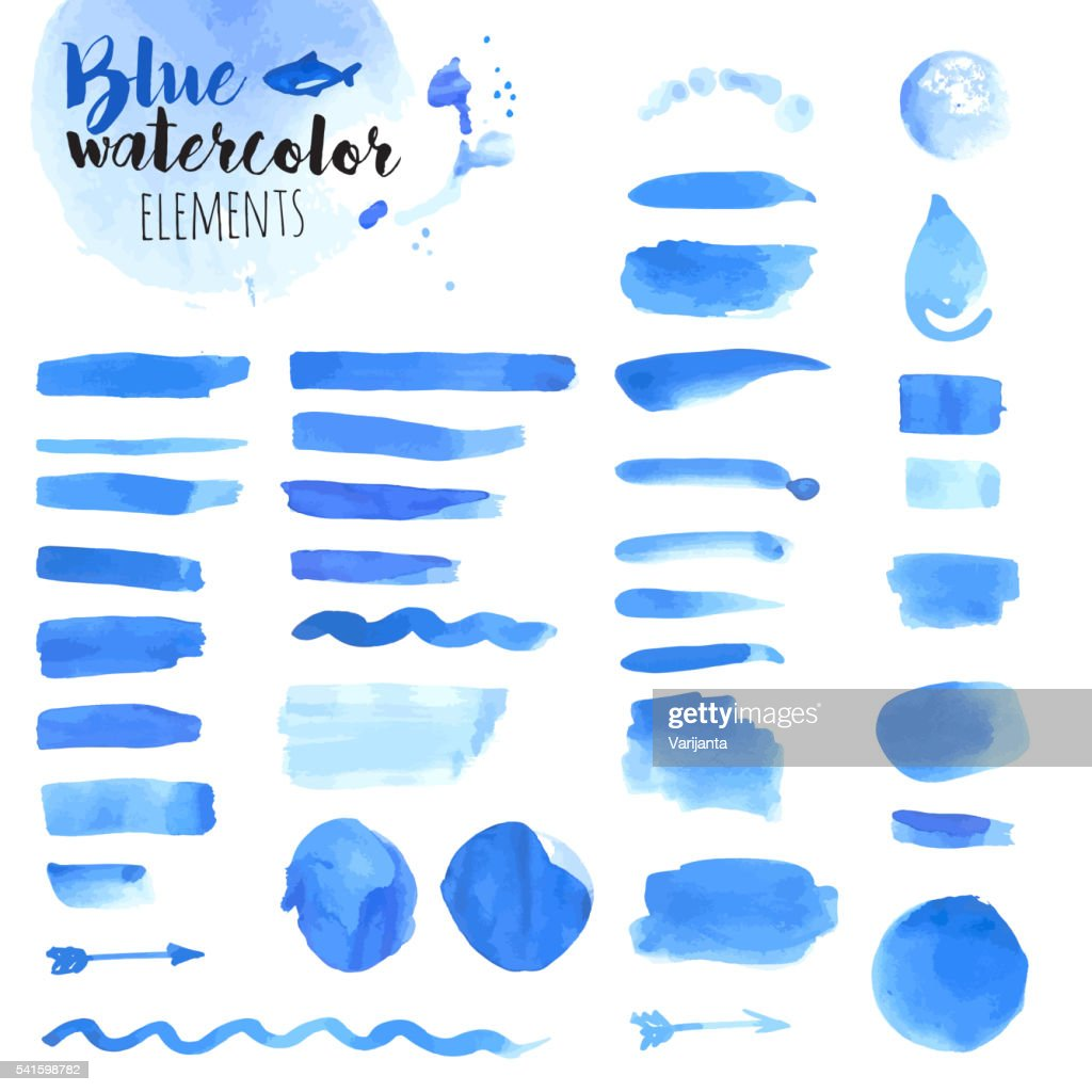 Set of hand drawn blue watercolor elements