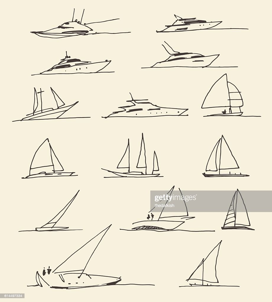 Set of hand drawn boats, vector illustration