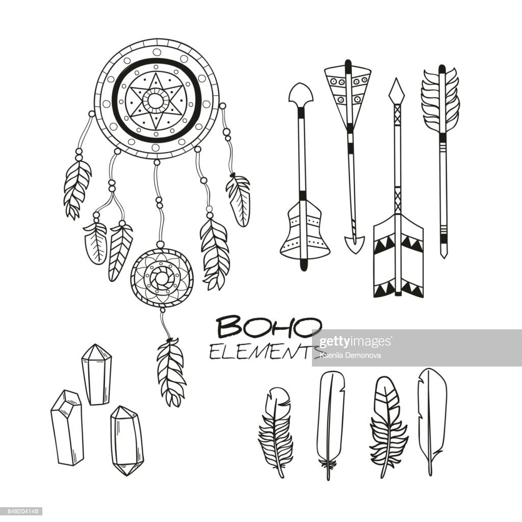 Set of Hand Drawn Boho Elements