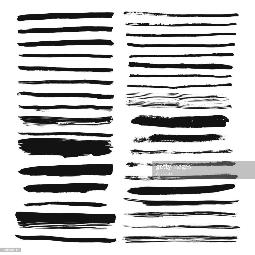 Set of hand drawn brush lines. Ink stroke and text dividers.