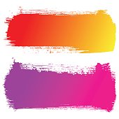 Set of hand drawn brushstrokes. Abstract ink grunge banners for