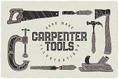 Set of hand drawn carpenter tools illustrations