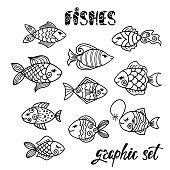 Set of hand drawn cartoon funny fishes.