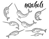 Set of hand drawn cartoon funny narwhals.