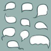 Set of hand drawn cartoon speech bubbles