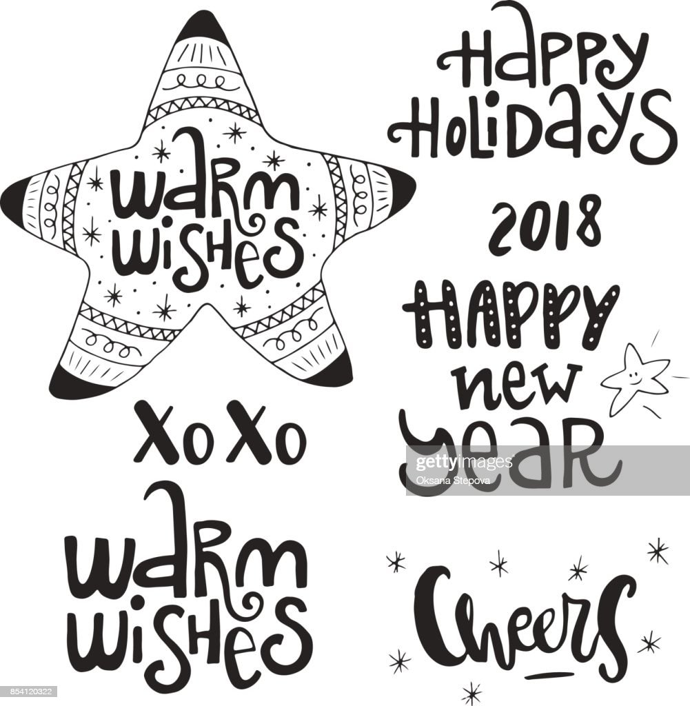 Set Of Hand Drawn Christmas Phrases And Words Cute New Year ...