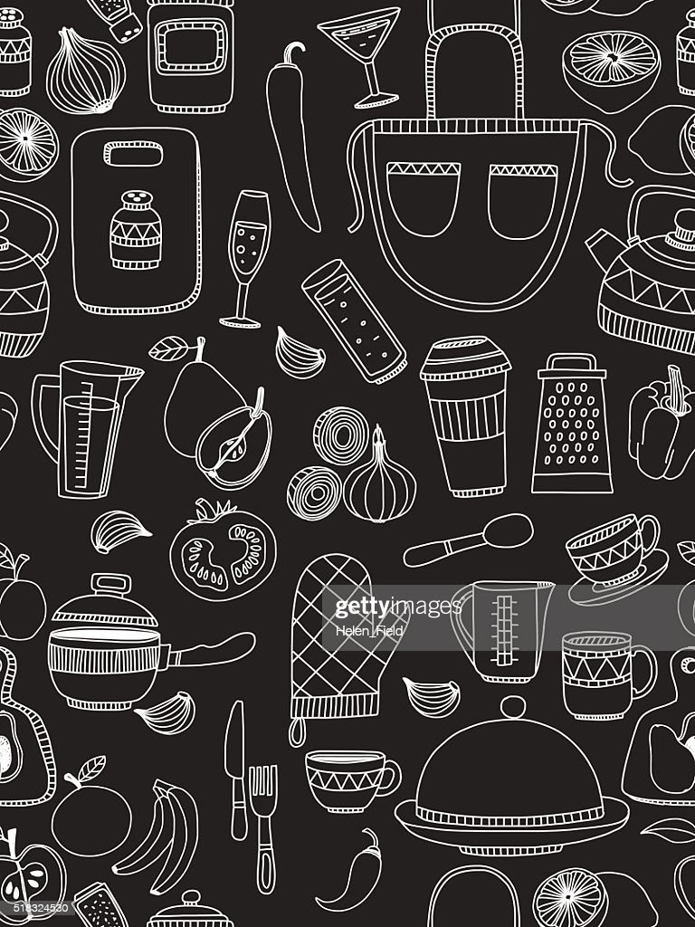 Set of hand drawn cookware.