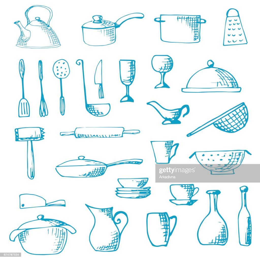 Set of hand drawn cookware. Vector illustration. Sketch drawn by a blue pen