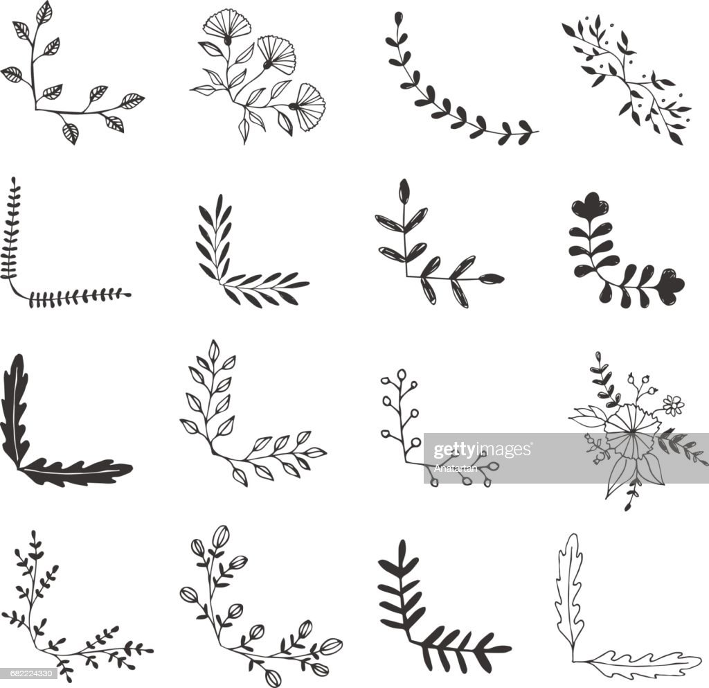Set of hand drawn corner borders. Fancy page decoration. Vector. Isolated.