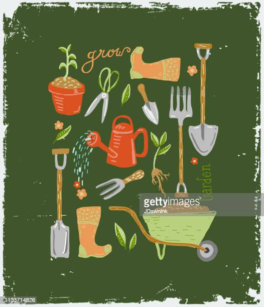 set of hand drawn cute gardening tools and equipment with hand lettering - watering can stock illustrations