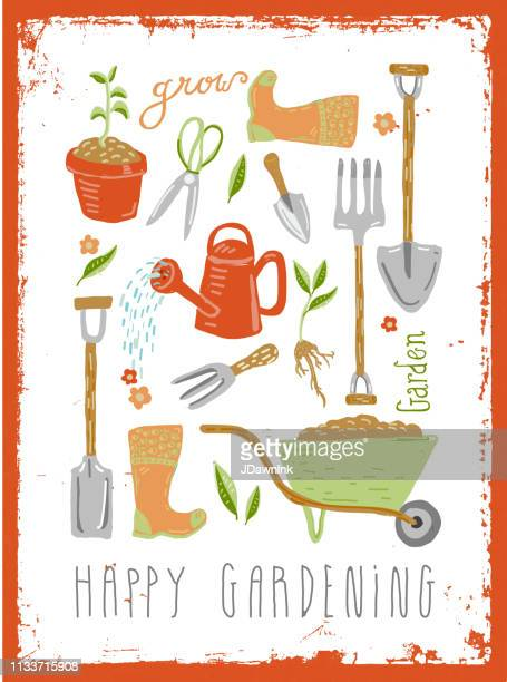 set of hand drawn cute gardening tools and equipment with hand lettering - raking leaves stock illustrations, clip art, cartoons, & icons