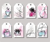 Set of hand drawn cute gift tags.