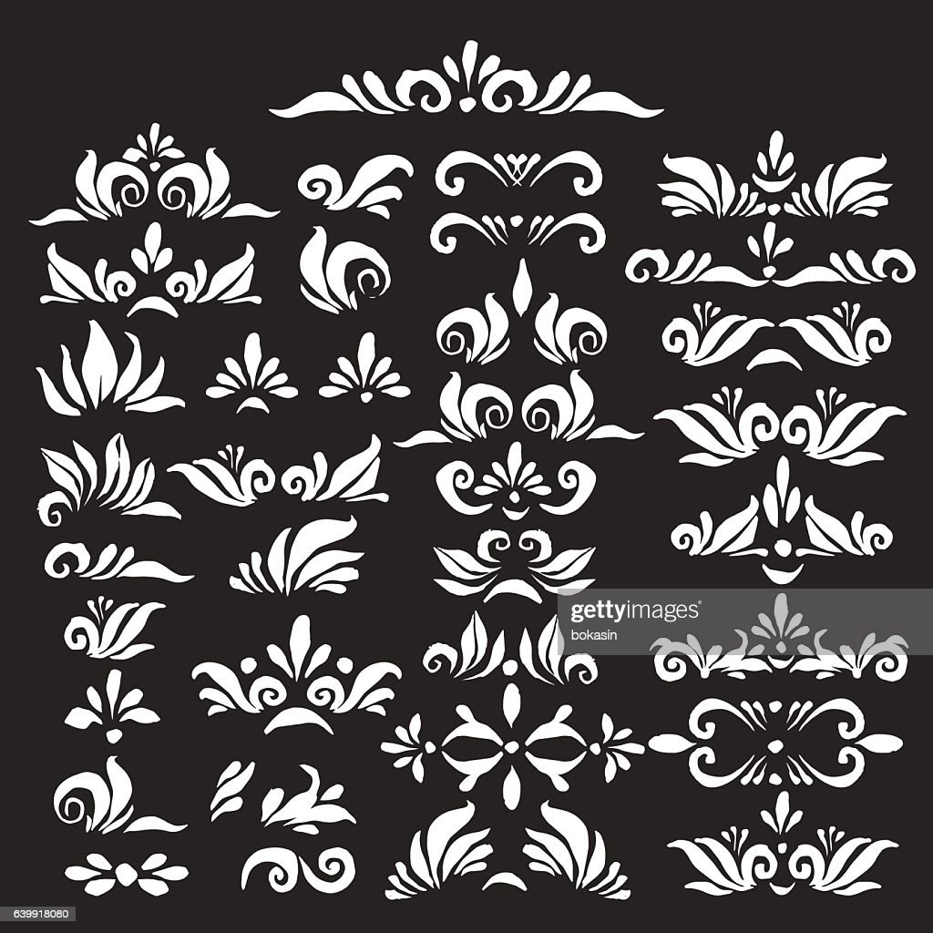 Set of hand drawn decorative elements in black and white.