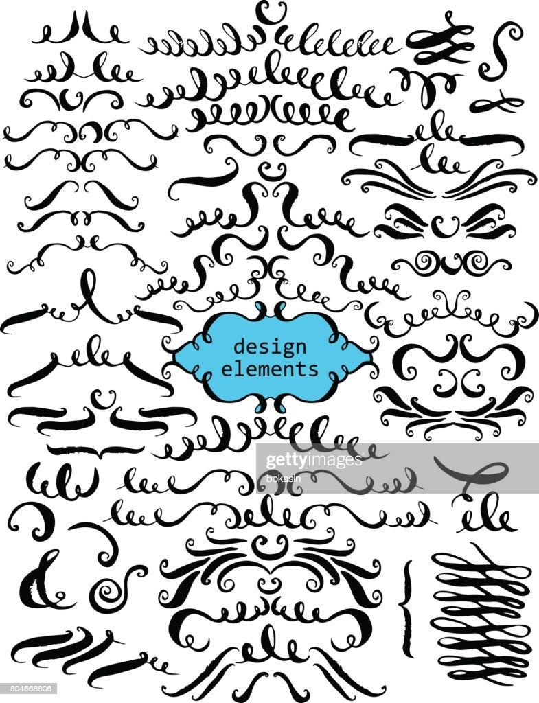 Set of hand drawn decorative elements