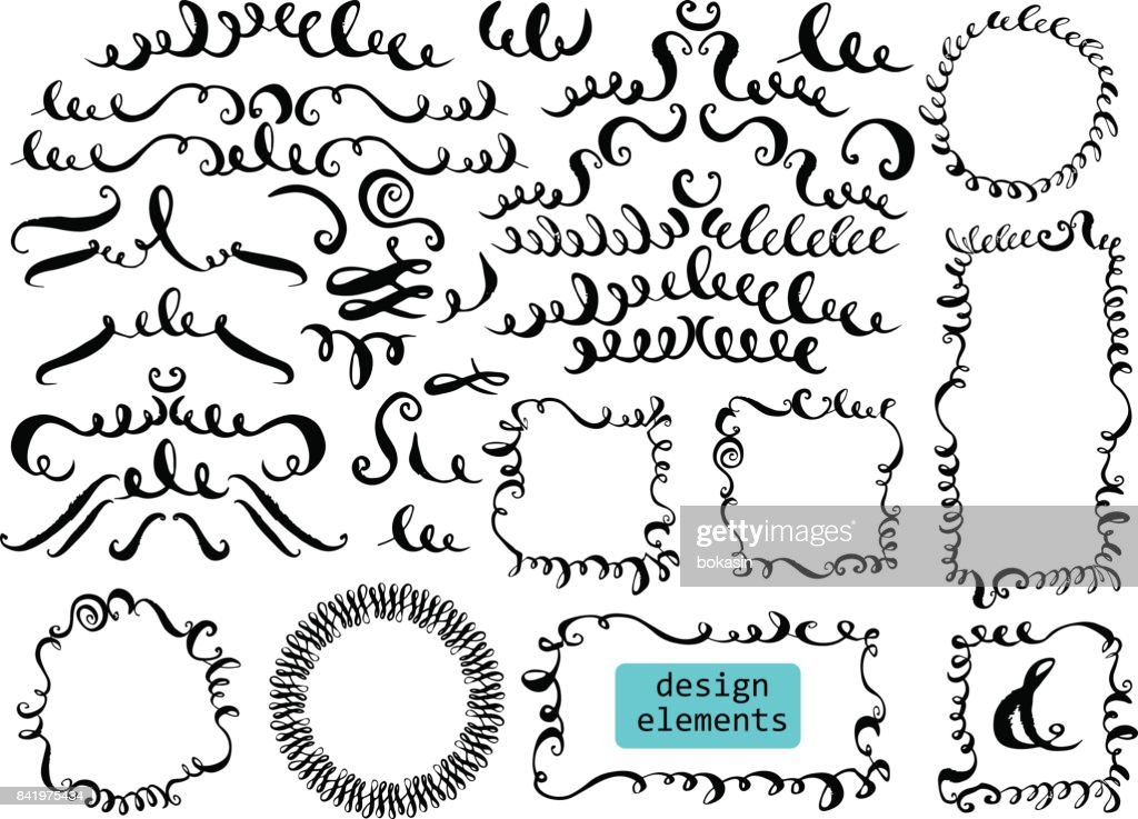 Set of hand drawn decorative elements