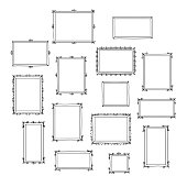 Set of hand drawn decorative photo frames.
