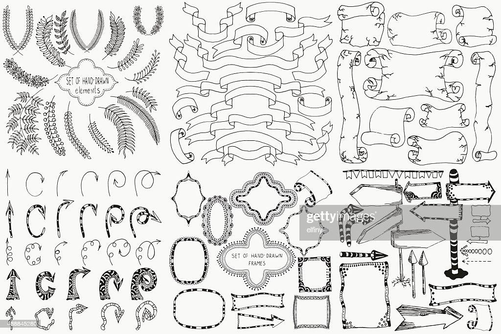 Set of hand drawn design elements.