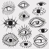Set of hand drawn different eyes isolated on white background.