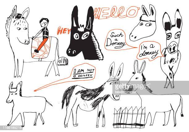 satz von handgezeichneten eseln - esel stock-grafiken, -clipart, -cartoons und -symbole