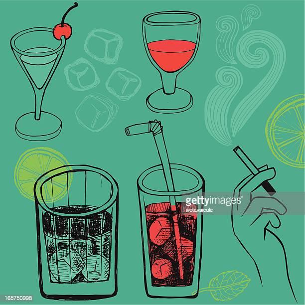 Set of hand drawn drinks