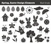 Set of hand drawn Easter design elements