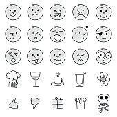 Set of hand drawn emoticons