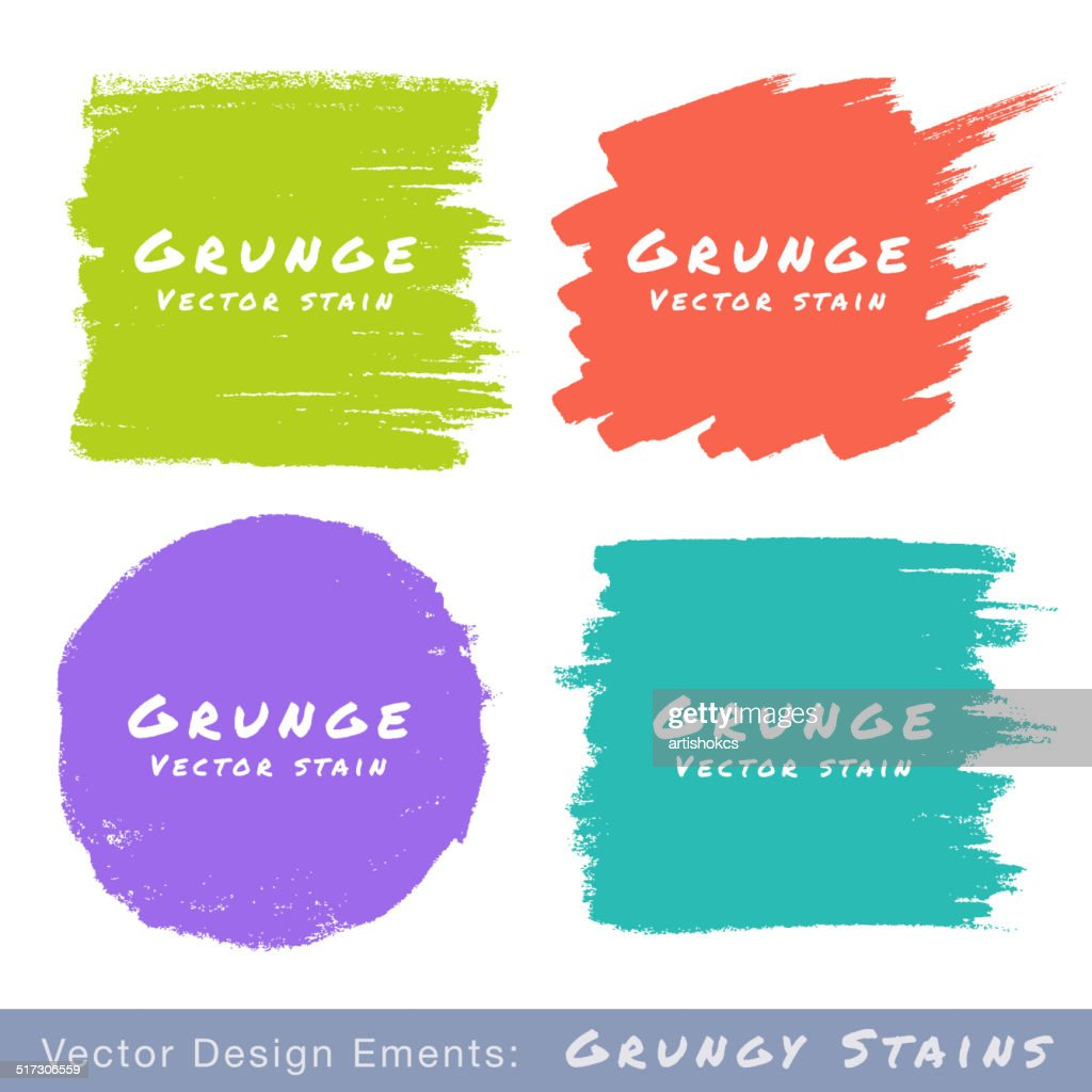 Set of Hand Drawn Flat Grunge Stains on White Background.