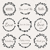 Set of hand drawn floral wreath with lettering Wedding, Love, Save the Date, Thank you. Vector vintage illustration.