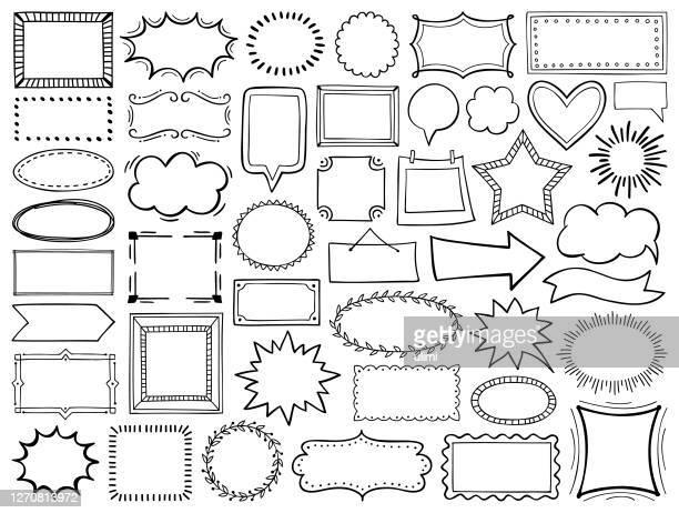 illustrazioni stock, clip art, cartoni animati e icone di tendenza di set di cornici disegnate a mano - incorniciatura