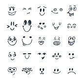 Set of hand drawn funny faces. Cute cartoon emotional faces