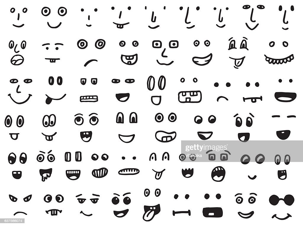 set of hand drawn funny faces