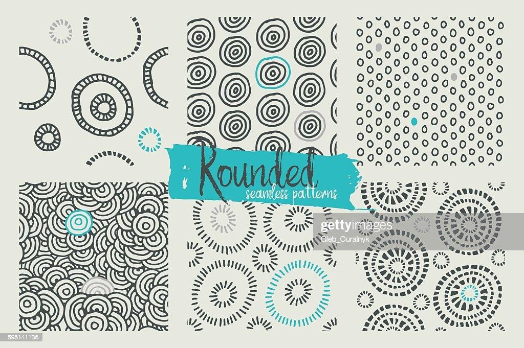 Set of hand drawn geometric seamless patterns