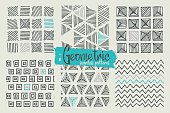 Set of hand drawn geometric seamless patterns