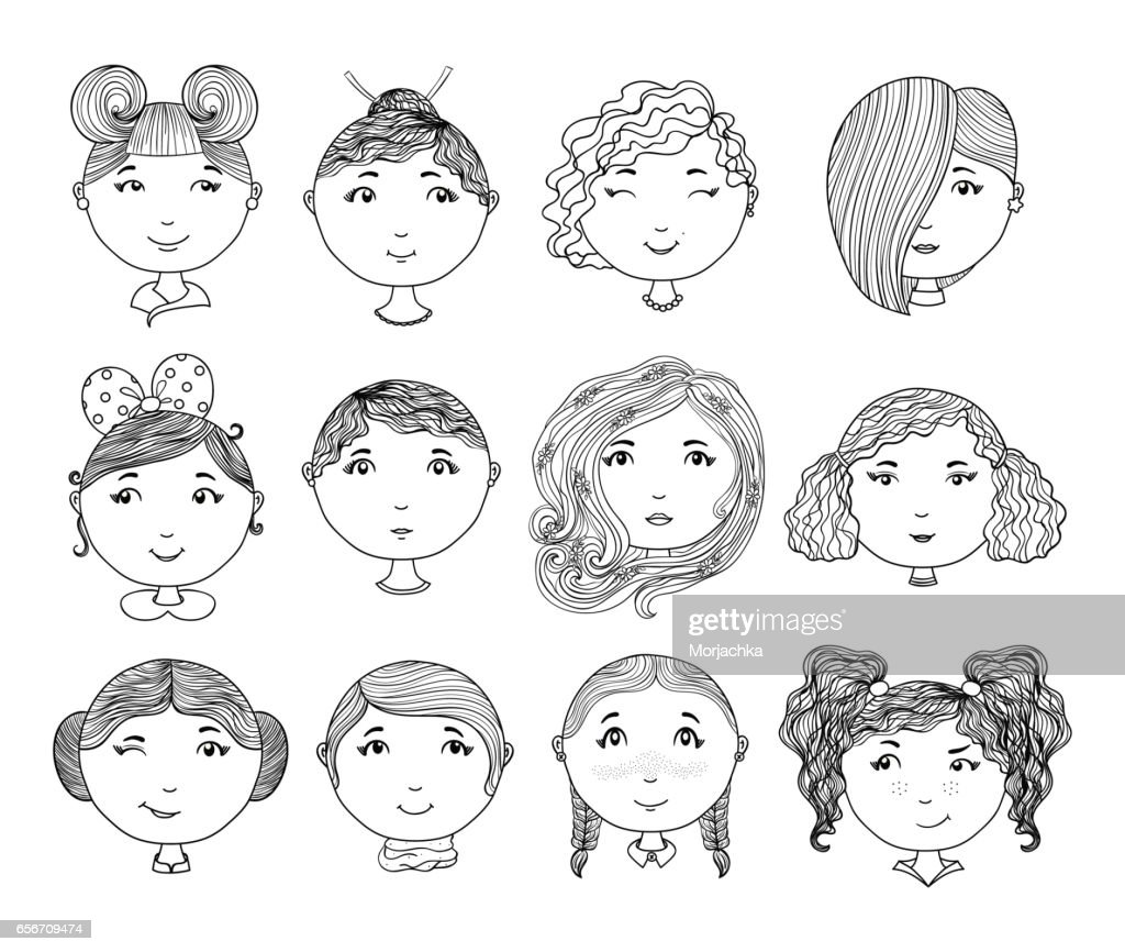 Set of hand drawn girl faces. Cartoon girls. Avatar collection. Vector illustration