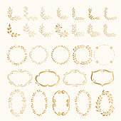 Set of hand drawn golden corners and frames. Vector. Isolated.