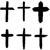Set of hand drawn grunge crosses. religious sign. Vector design elements