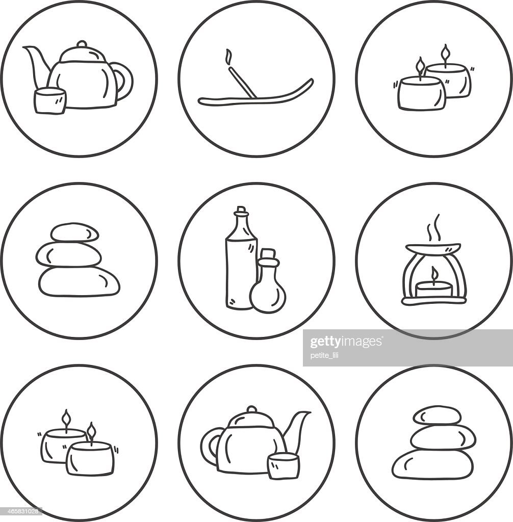 Set of hand drawn icons on spa theme